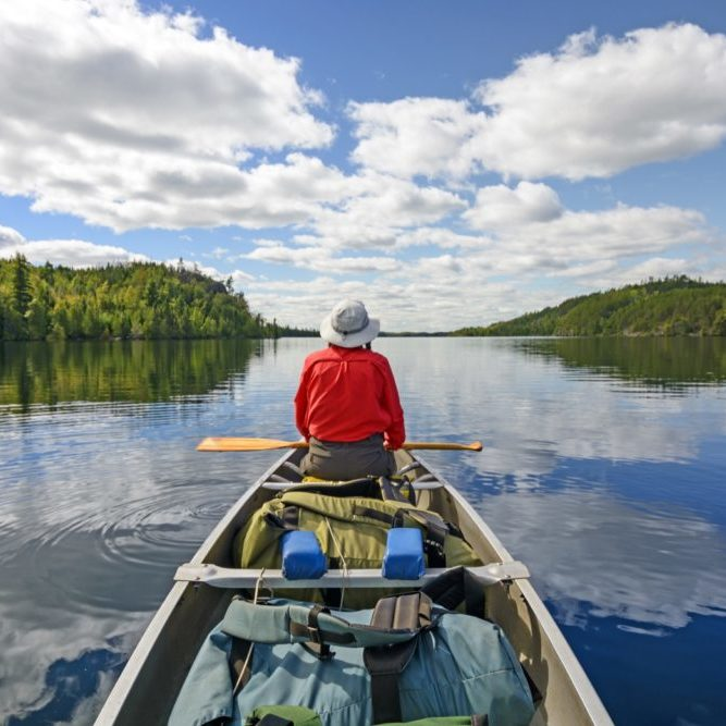 Canoer on Kekekabic Lake in the Boundary Waters in Minnesota