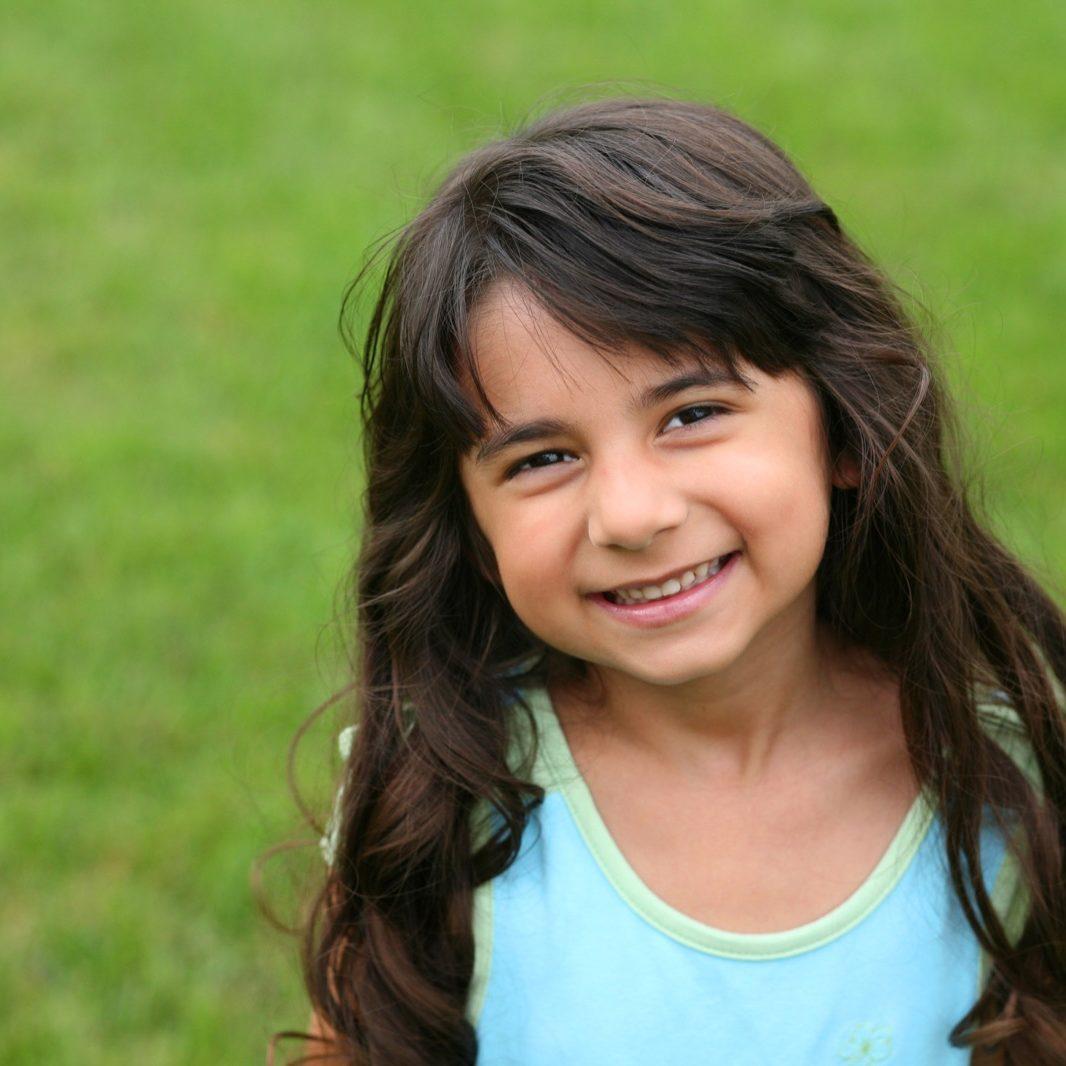 pretty little brunnete girl smiling